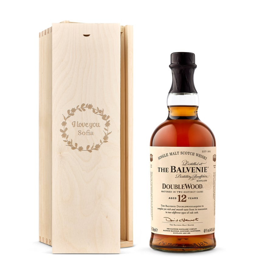 Whisky i indgraveret æske –  Balvenie whisky