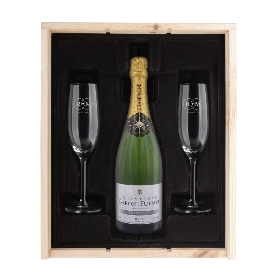 Champagne gift set with glasses - Baron Fuenté Brut