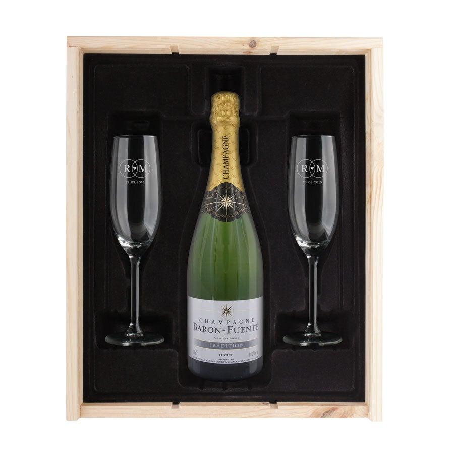 Regalo de champán con copas grabadas - Baron Fuenté Brut