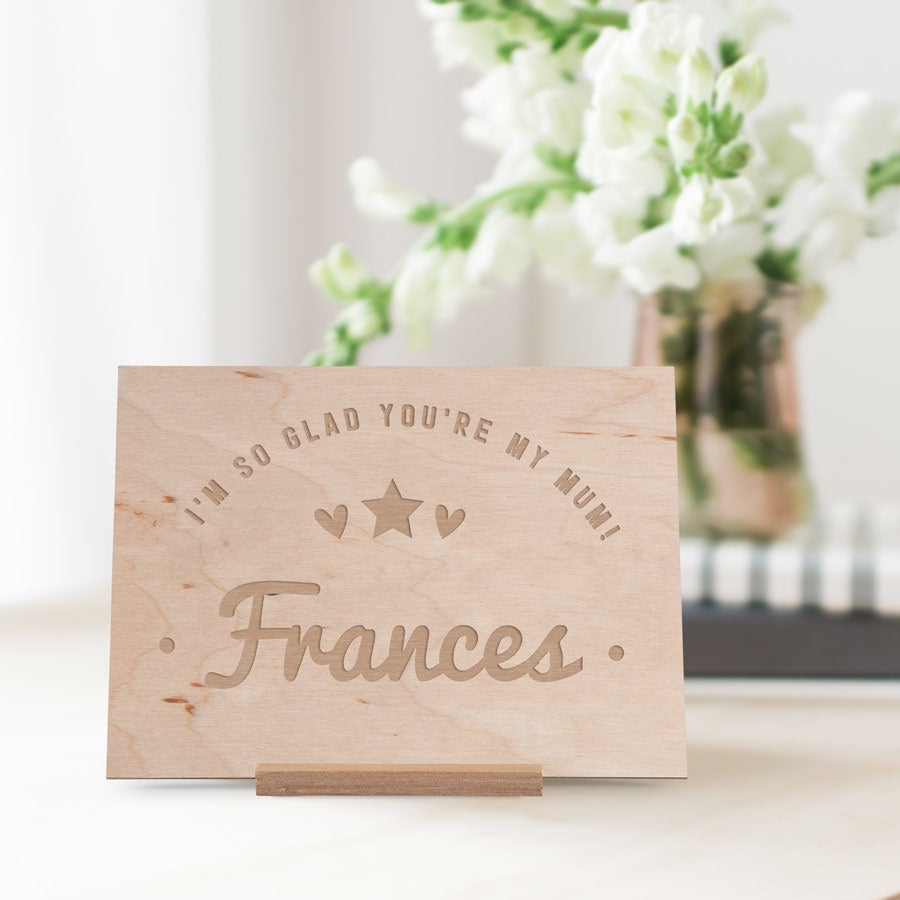 Wooden Mother's Day card - Engraved - Horizontal