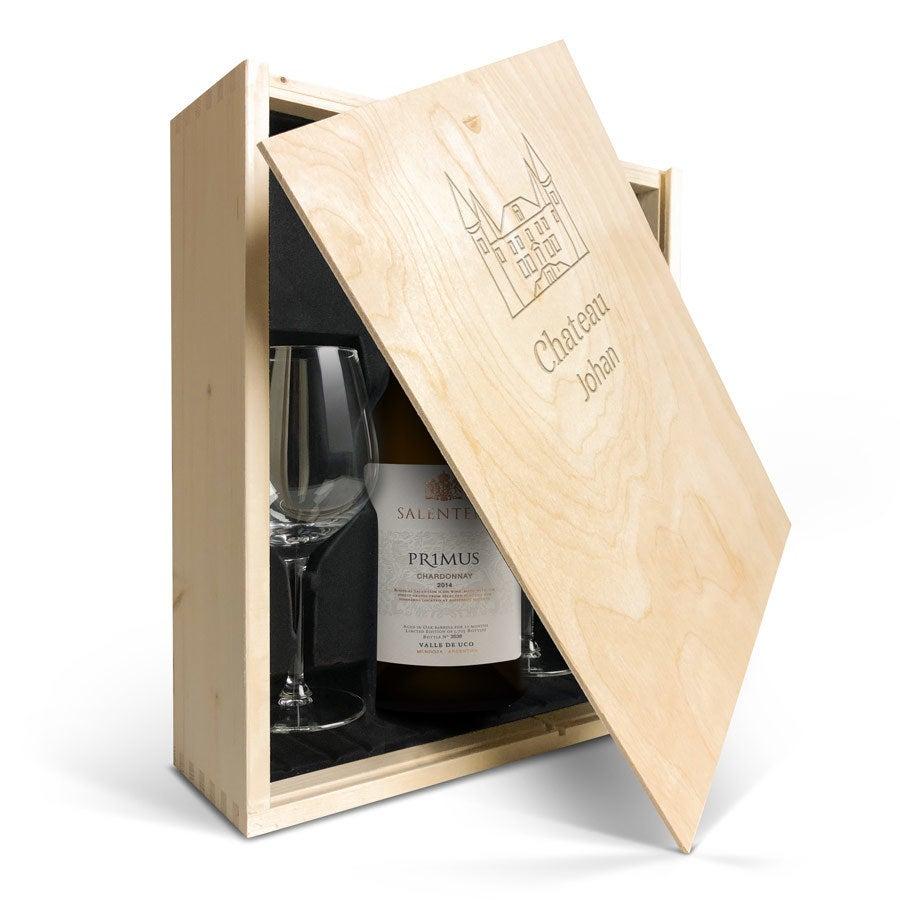 Wijnpakket met wijnglazen - Salentein Primus Chardonnay - Gegraveerde deksel