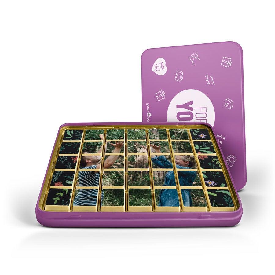 Puzzle photo en chocolat personnalisé - Boîte étain