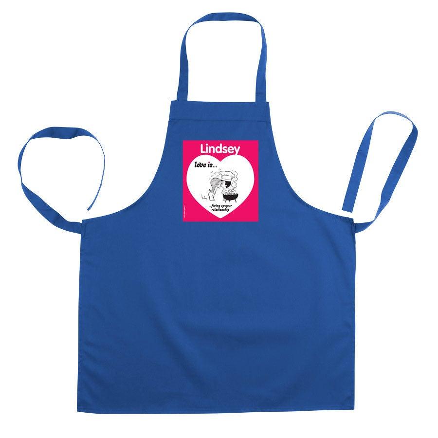 O amor é .. avental de cozinha - azul  (impresso)