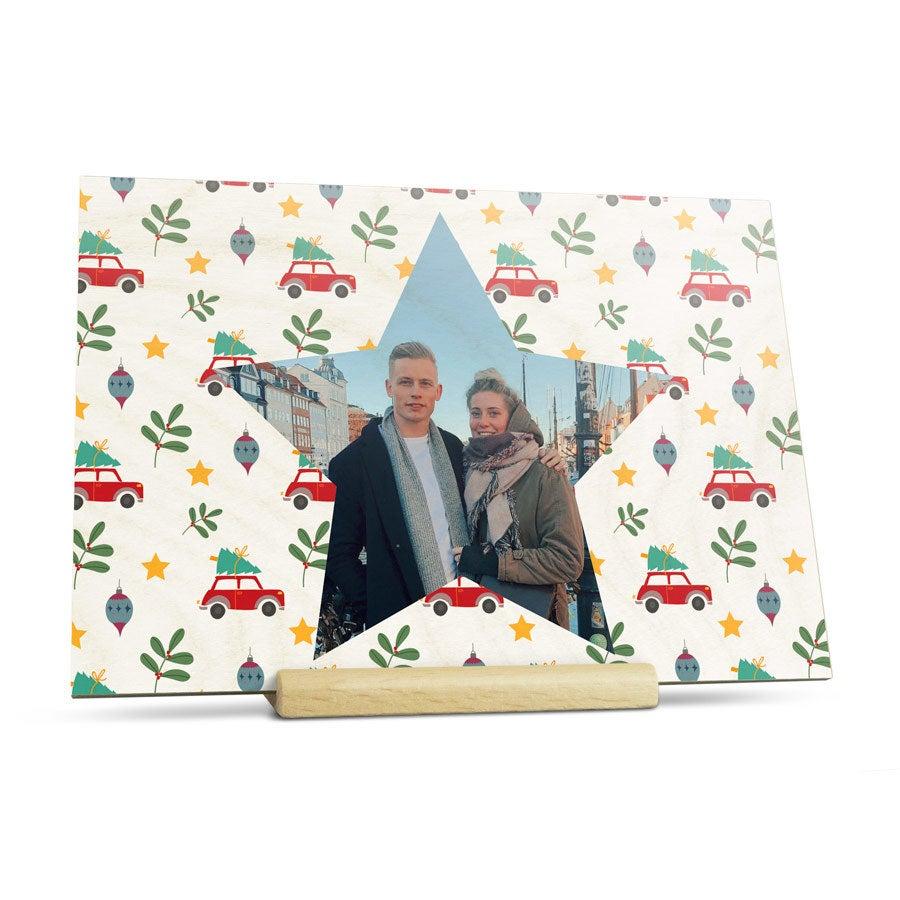 Cartões de Natal de foto de madeira - horizontal
