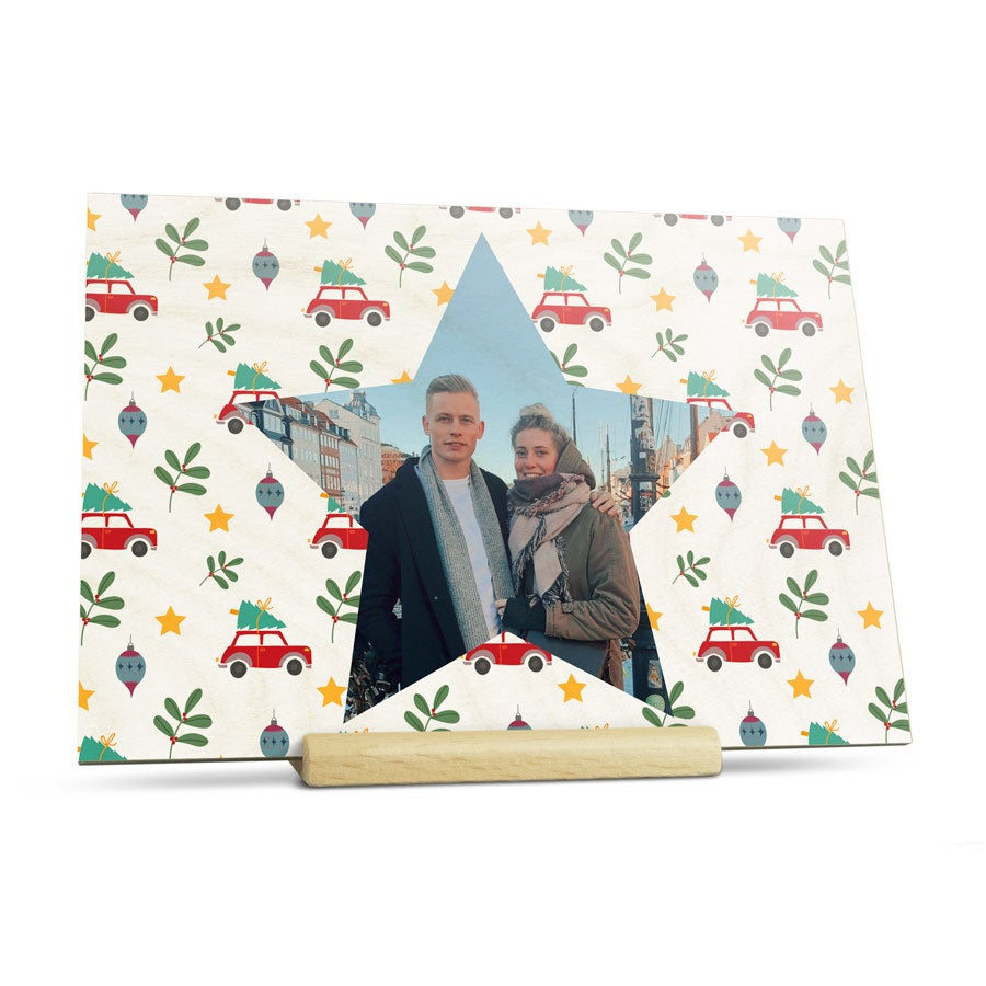 Tarjeta de Navidad con foto - Horizontal - Madera