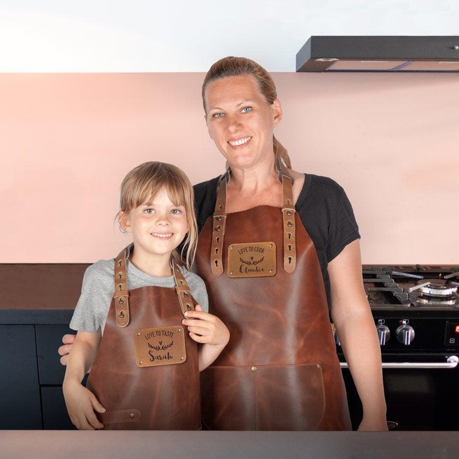 Leder-Kochschürzenset - Erwachsene + Kids