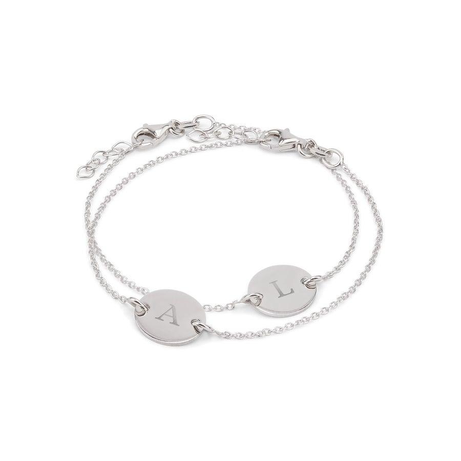 Bracelets en argent avec initiales gravées - Mère & fille