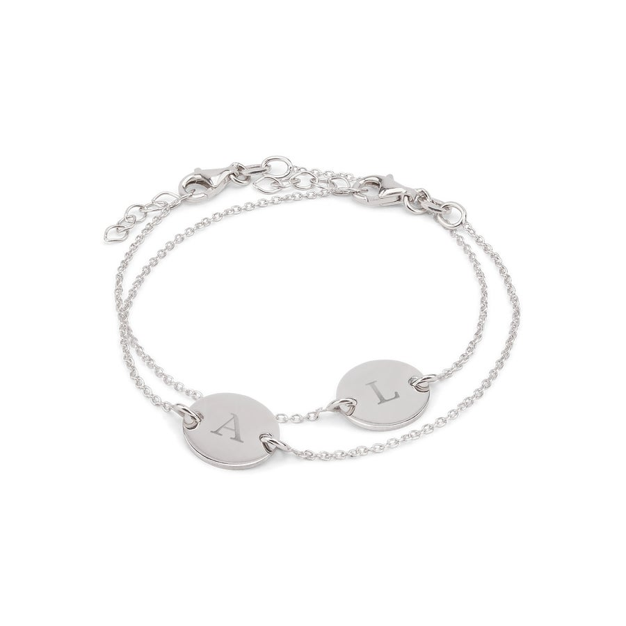Engraved silver bracelets with initials - Mother & Daughter