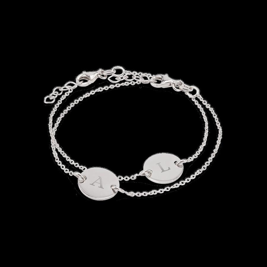 Graverte sølvarmbånd med initialer - Mor & datter