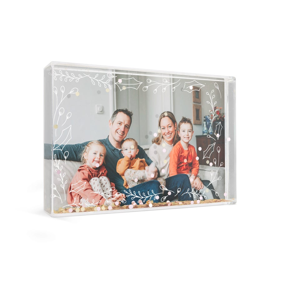 Schneekugel mit Foto - Rechteck - Konfetti