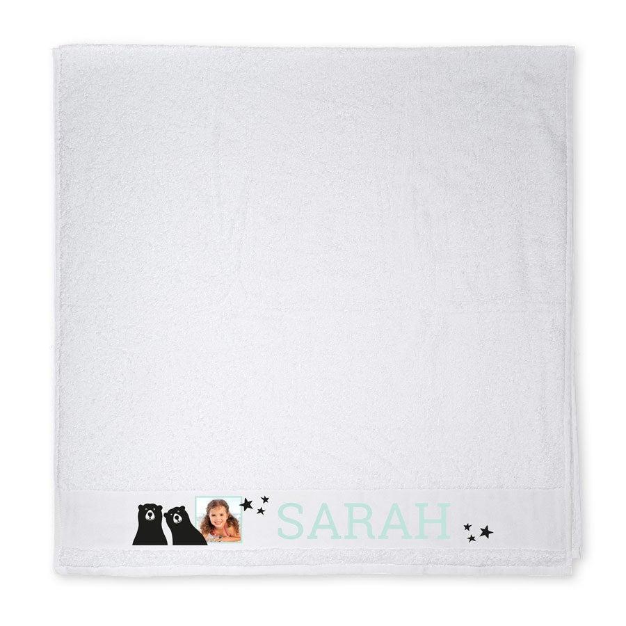 Badtuch mit Foto - Weiß