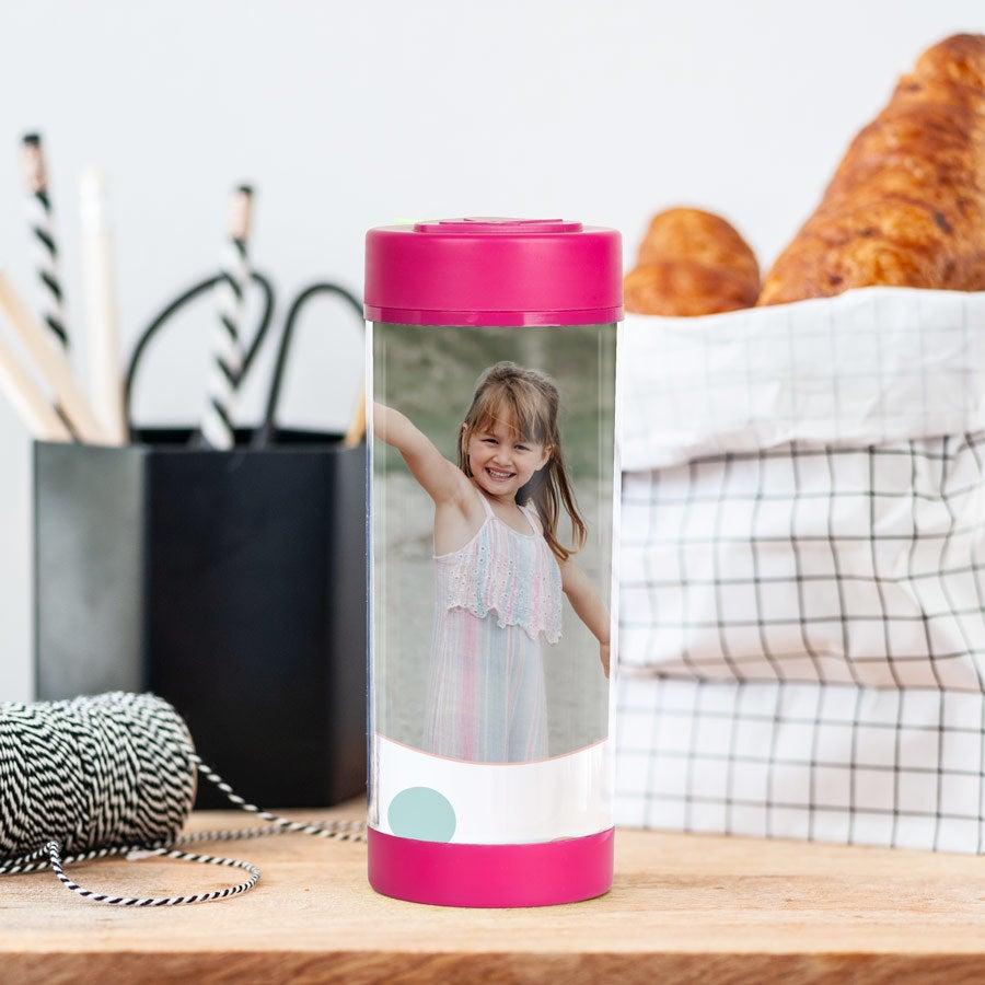Trinkbecher mit Deckel - Rosa