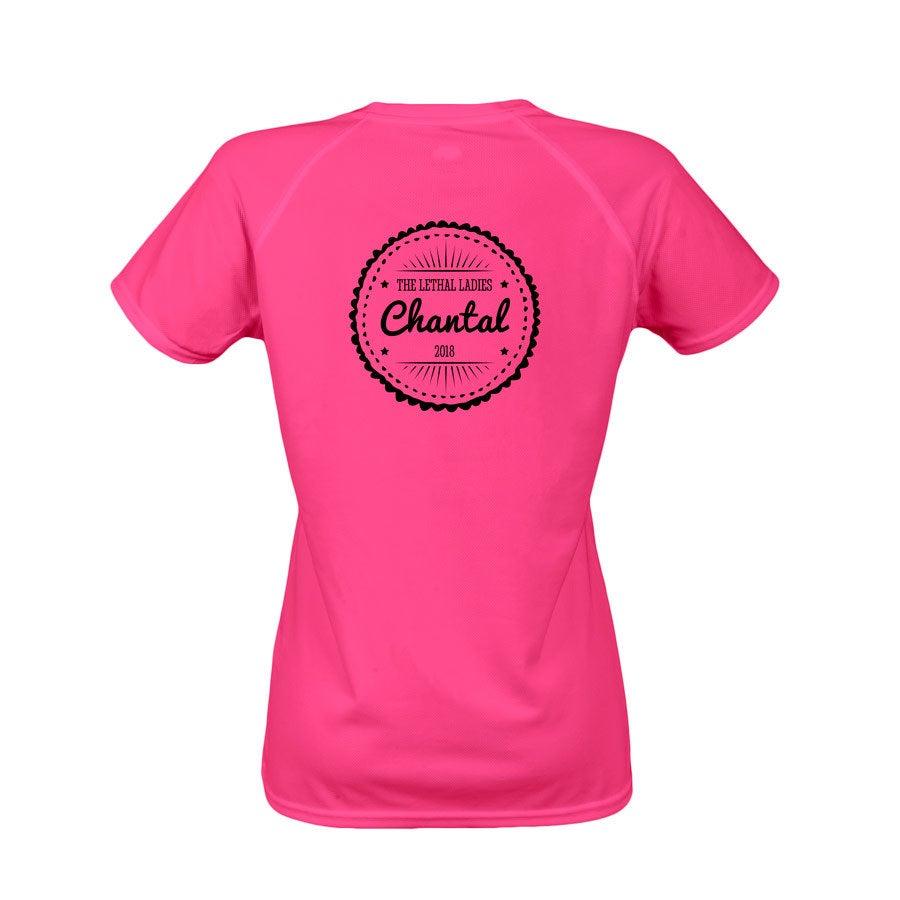 Sportshirt bedrukken - Dames - Roze - S