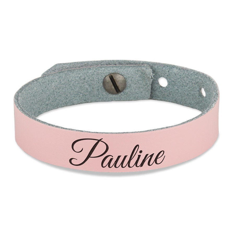 Bracelet prénom femme - cuir rose