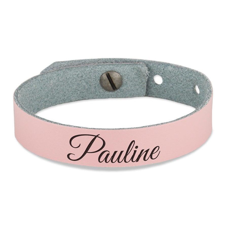 Leren armband - Dames - Roze