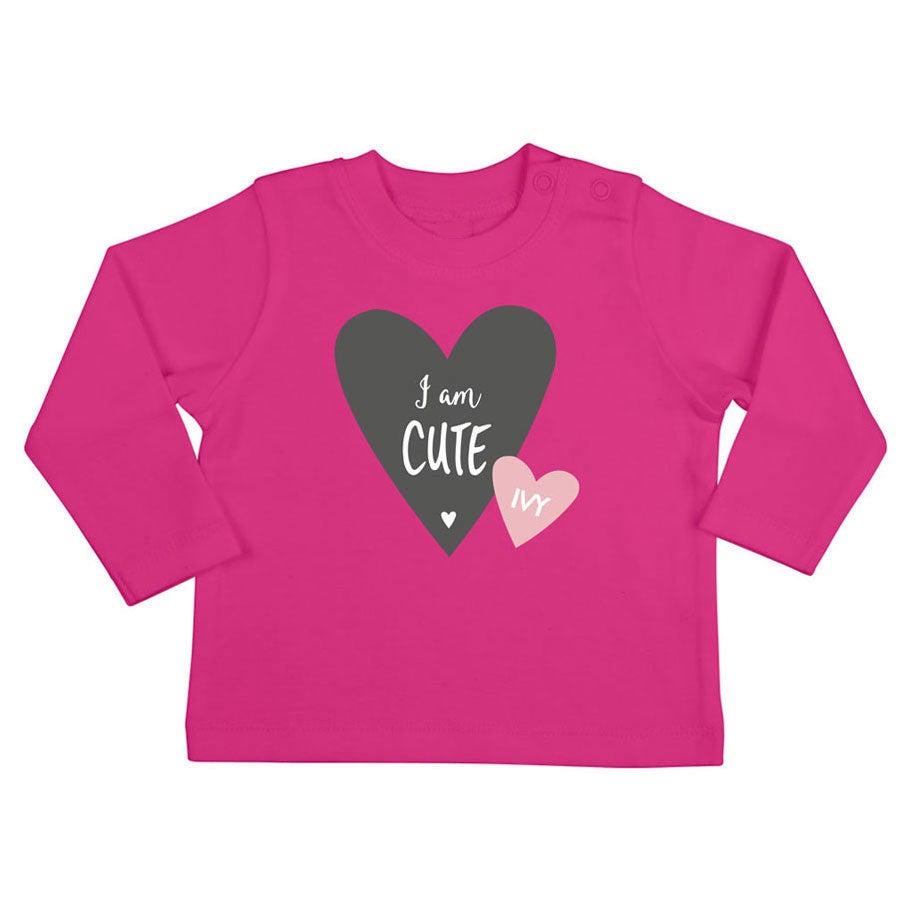 Babyskjorta med tryck - Långärmad - Fuchsia - 50/56