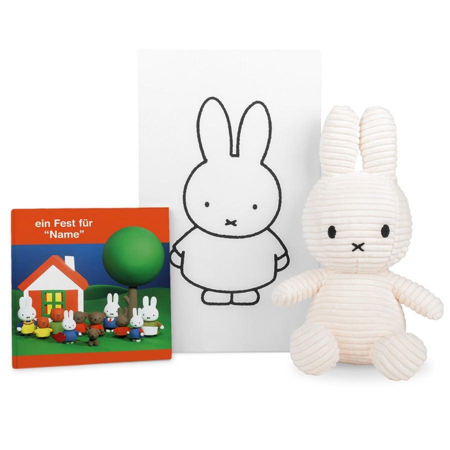 Miffy Geschenkset - Miffy Kuscheltier und Buch mit Namen
