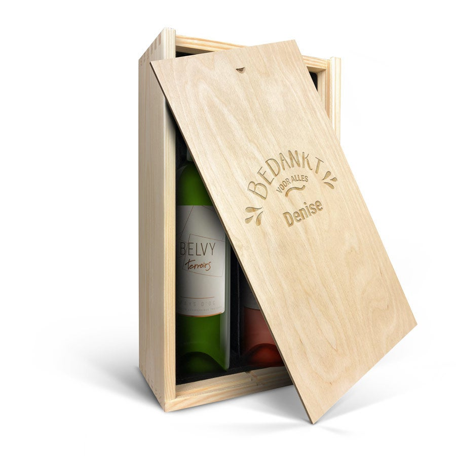 Wijnpakket in kist - Belvy - Wit en rosé