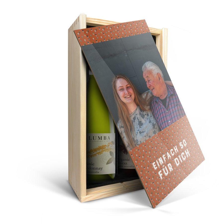 Wein Geschenkset in bedruckter Kiste - Yalumba Organic Chardonnay & Shiraz