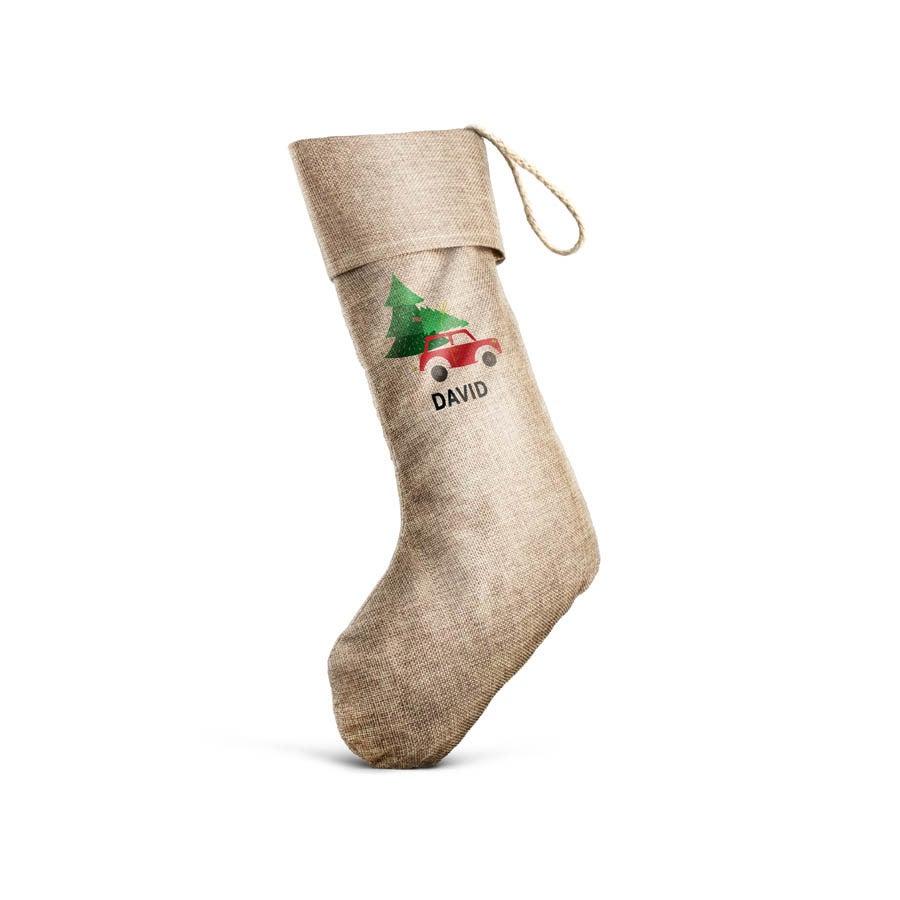 Calcetín navideño personalizado de lino marrón
