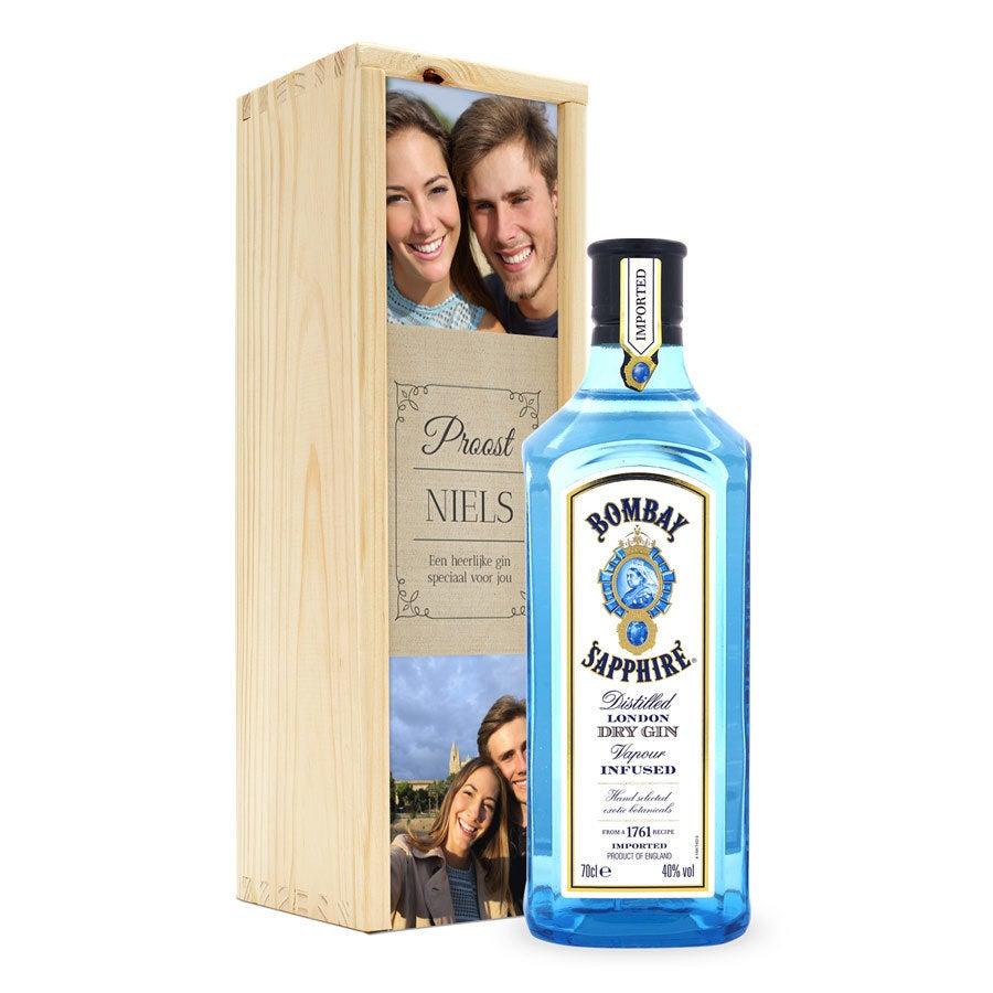 Gin in bedrukte kist - Bombay Sapphire