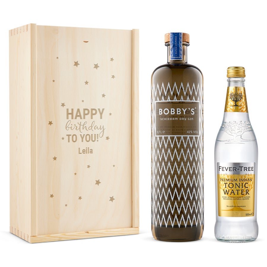 Gin & Tonic ajándékkészlet - Bobby's Gin - Gravírozott dobozban