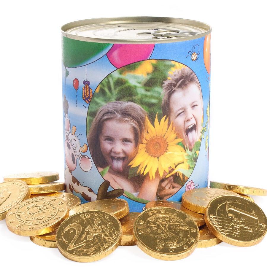 Estanho de doces - moedas de chocolate