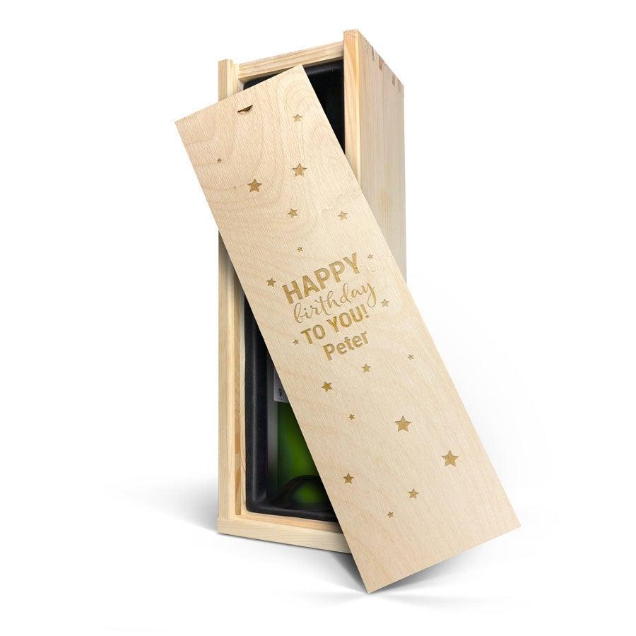 Wijn in gegraveerde kist - Belvy - Wit