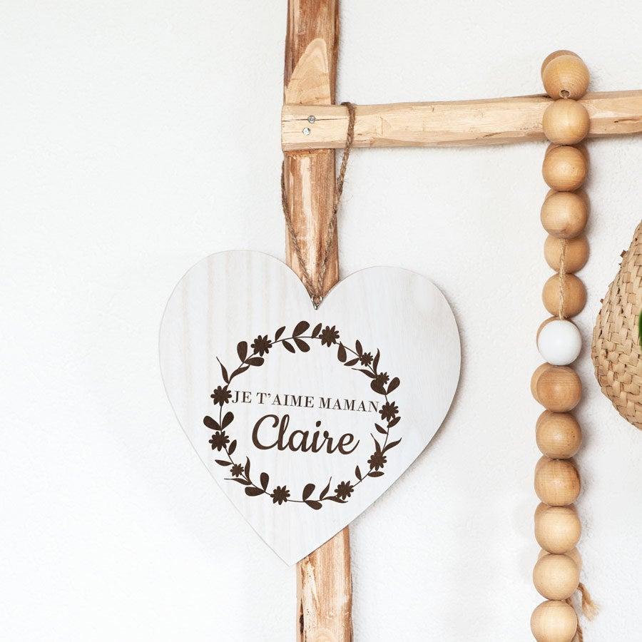 Coeur Fête des Mères - en bois