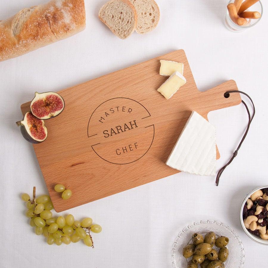 Drevený servírovací tanier - bukové drevo - obdĺžnikový - krajina (M)