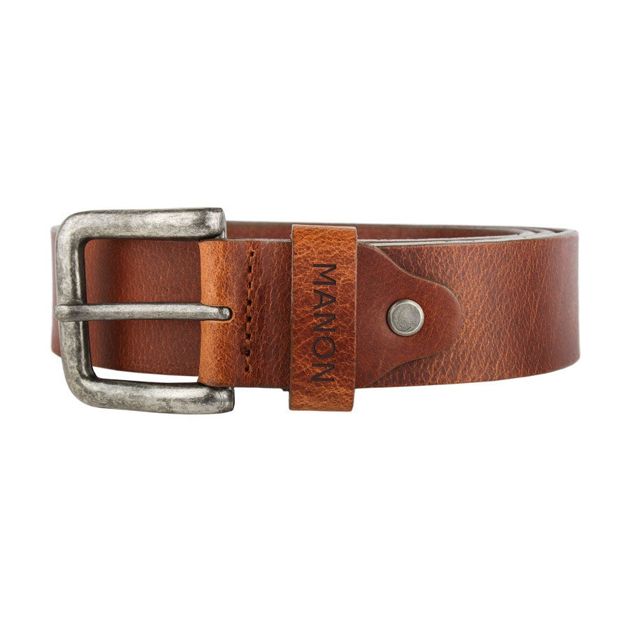 Personalised leather belt - Brown (80)