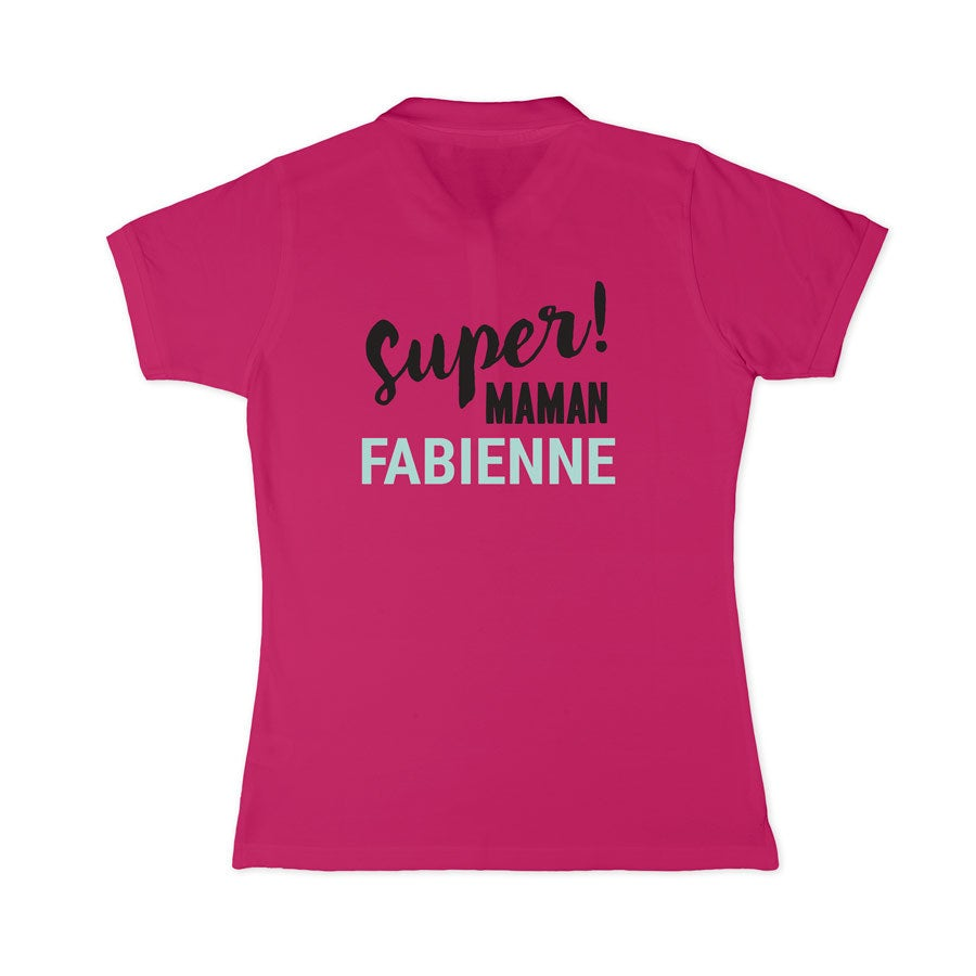 Polo personnalisé - Femme - Fuchsia - S