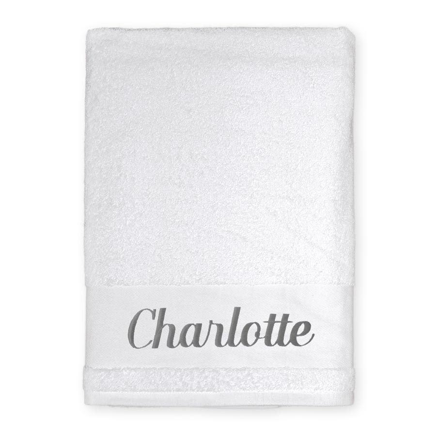 Broderet badehåndklæde - Hvid