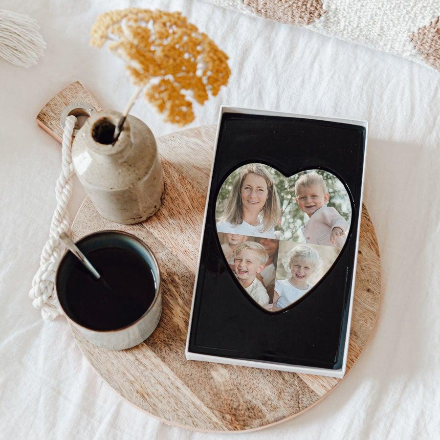 Corazón de chocolate impreso