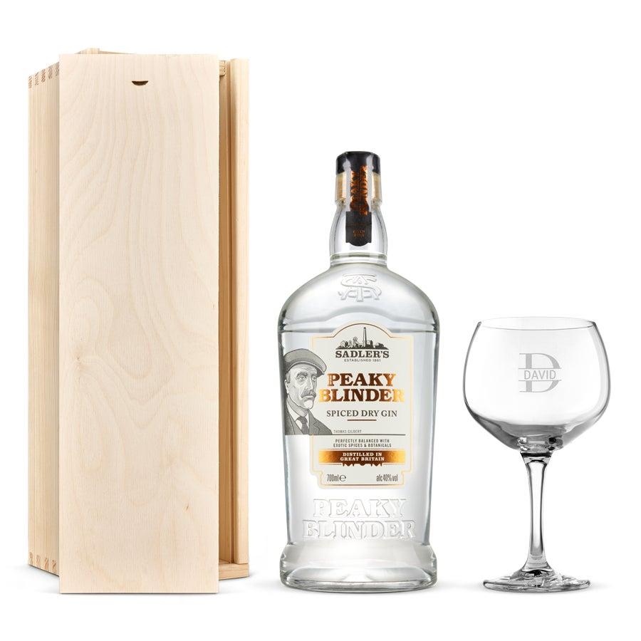 Peaky Blinders gin szett - vésett tokkal