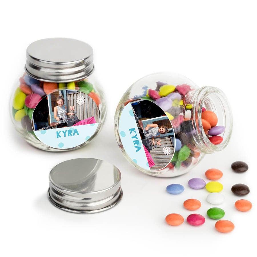 Chocosnoepjes in bedrukt glazen potje - 40 stuks