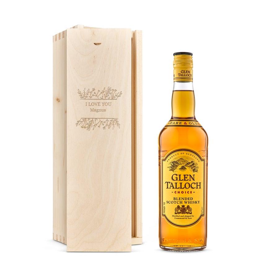 Whisky i indgraveret æske – Glen Talloch whisky