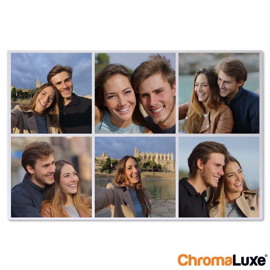 Persoonlijke instacollage aluminium - Chromaluxe - Wit - 60x40