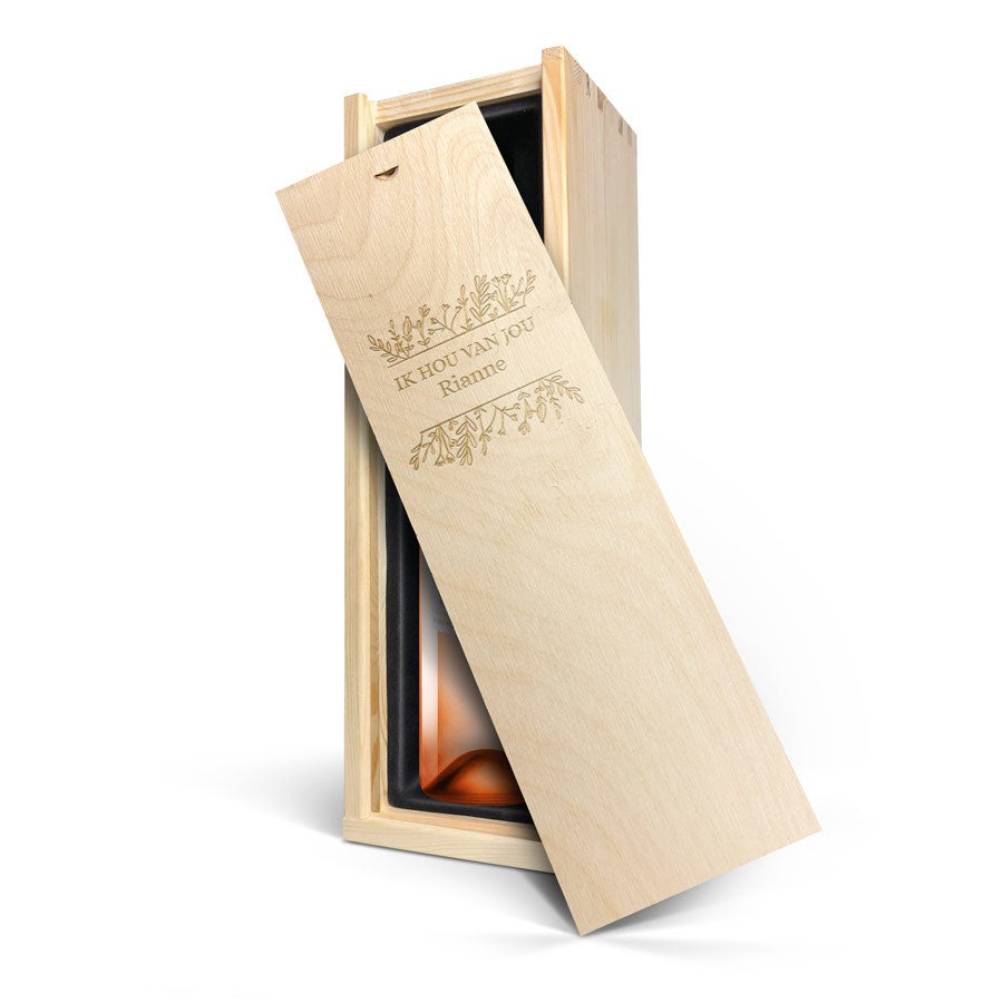 Wijn in gegraveerde kist - Oude Kaap - Rosé