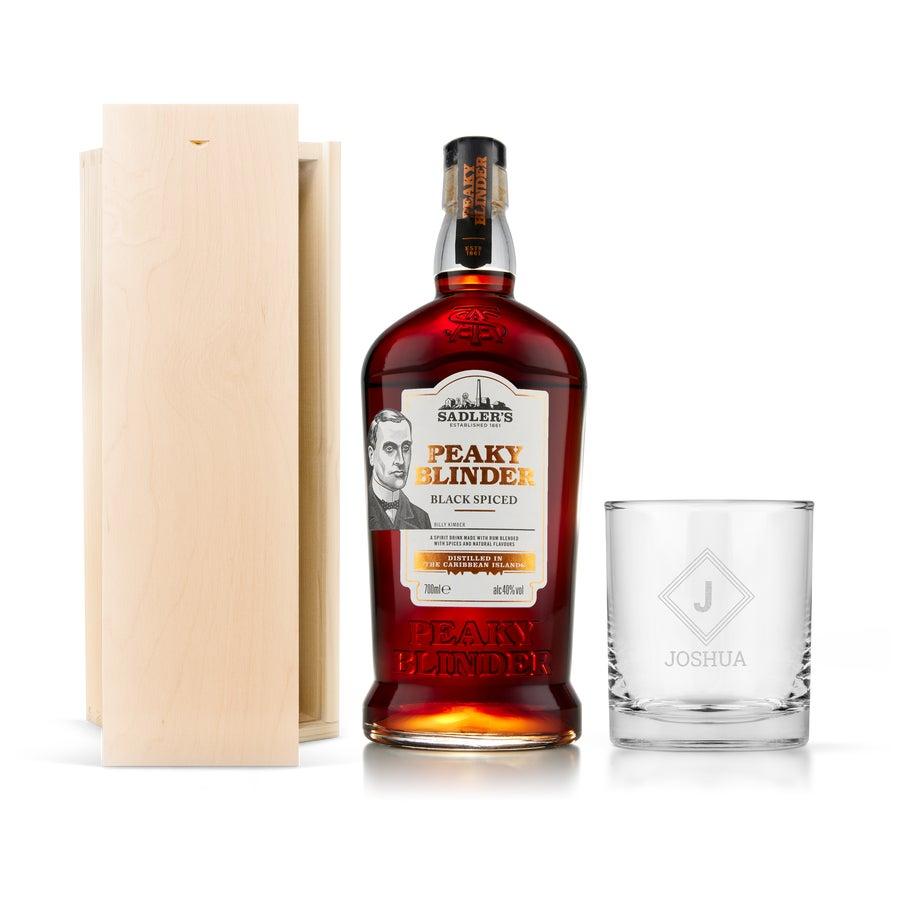 Rum Geschenkset - Peaky Blinder – mit graviertem Glas