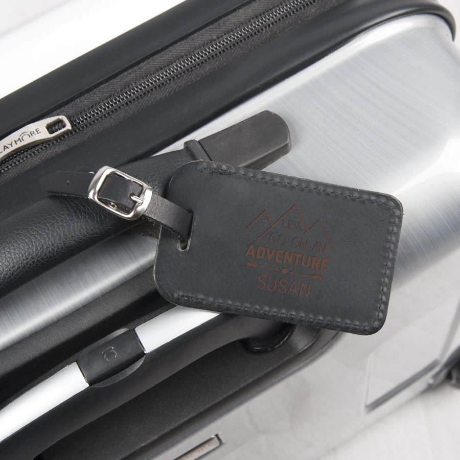 Nahkainen matkalaukun nimilappu - musta