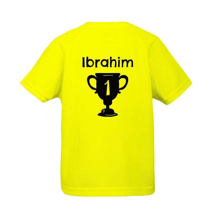 Sportshirt bedrukken - Kind - 6 jaar (geel)
