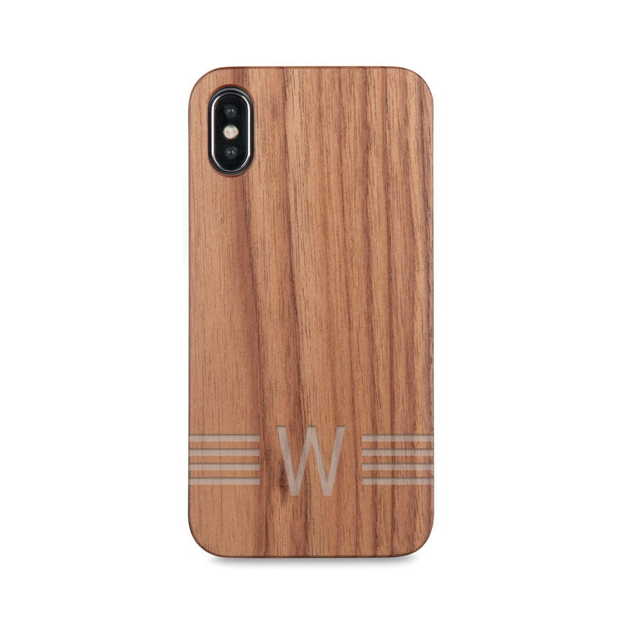 Houten telefoonhoesje graveren - iPhone X