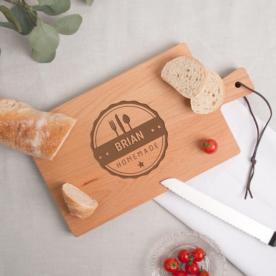 Drevená chliebová doska - bukové drevo - obdĺžniková - krajina (M)