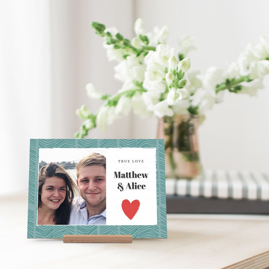 Personalised wooden Valentines card - landscape