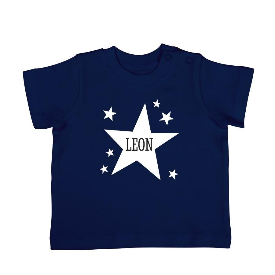 Babyskjorta med tryck - kort ärm - Navy - 62/68