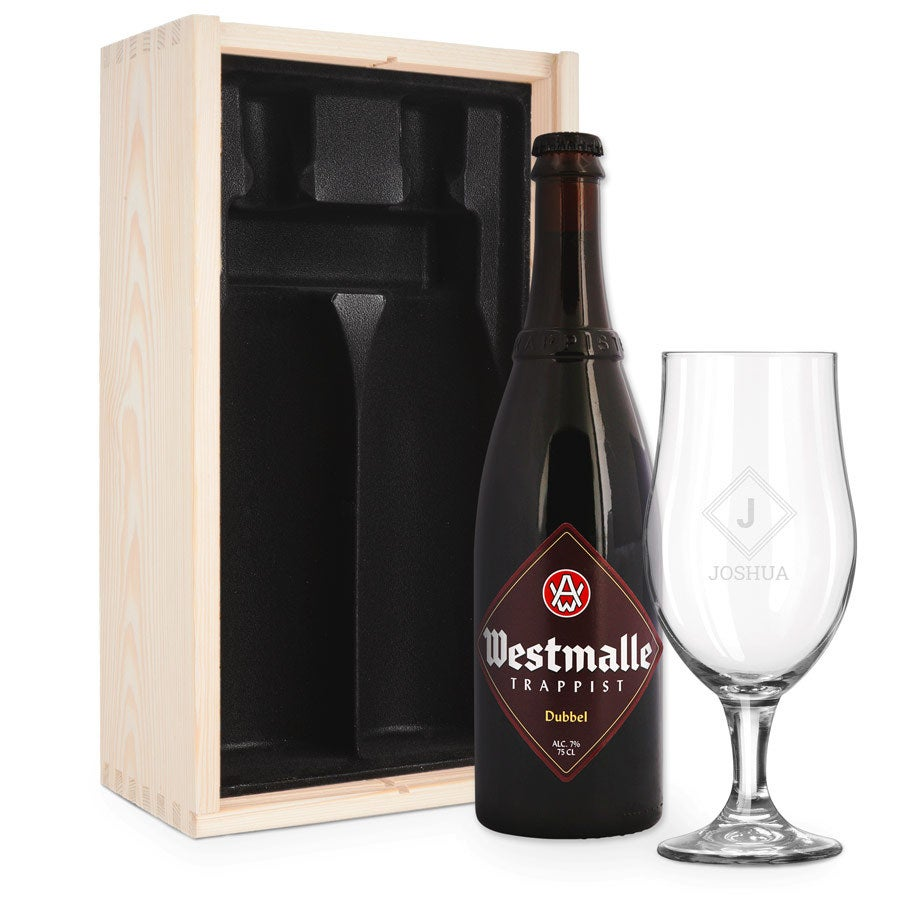 Ölgåva med glas - inristad - Westmalle Dubbel