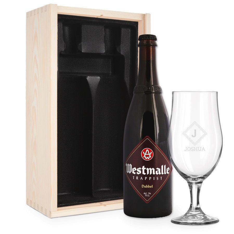 Pivní dárková sada se sklem - ryté - Westmalle Dubbel