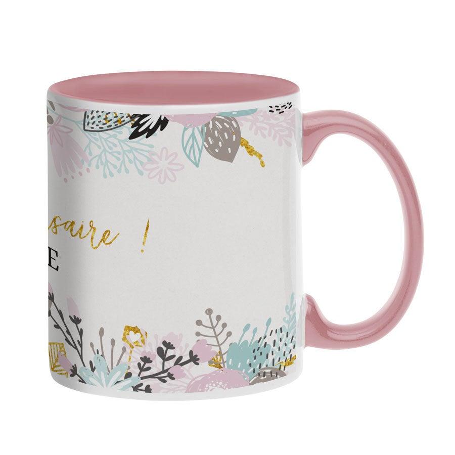 Mug personnalisé texte - Rose