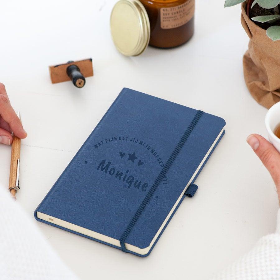 Moederdag notitieboekje graveren - Blauw